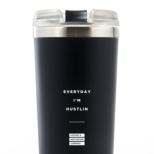 Everyday I'm Hustlin - 24oz Matte Black Motivational Travel Tumbler + Straw