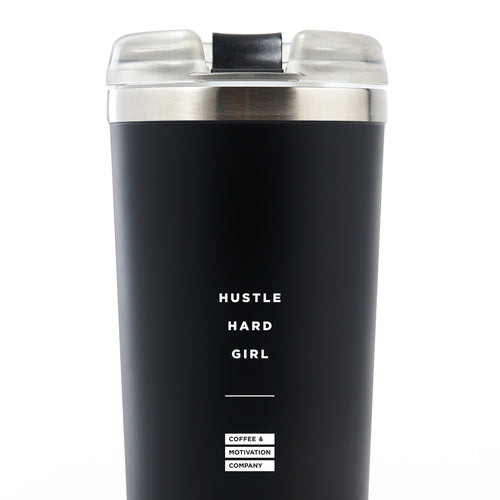 Hustle Hard Girl - 24oz Matte Black Motivational Travel Tumbler + Straw