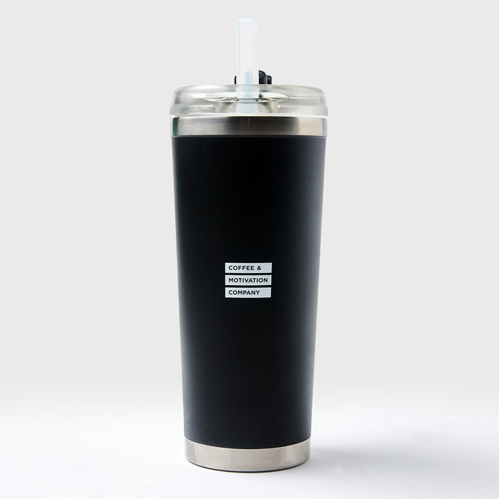 I'm Only Here Until I Win The Lottery - 24oz Matte Black Motivational Travel Tumbler + Straw