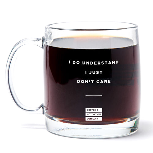 I Do Understand I Just Don't Care - 13oz Double Wall Motivational Glass Coffee Mug