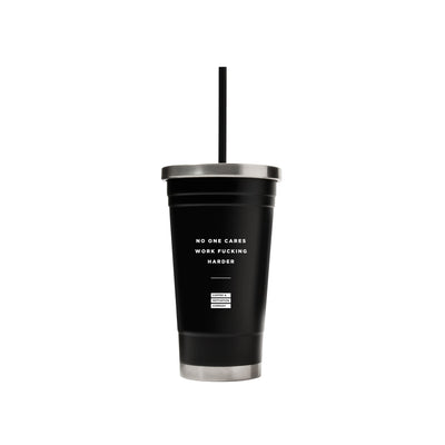No One Cares Work Fucking Harder - 18oz Matte Black Motivational Ice Coffee Travel Mug & Tumbler -  Travel Mugs - Coffee & Motivation Company