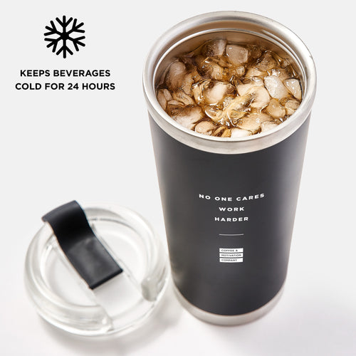 No One Cares Work Harder - 24oz Matte Black Motivational Travel Tumbler + Straw