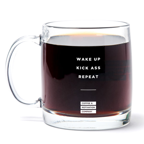 Wake Up Kick Ass Repeat - 13oz Double Wall Motivational Glass Coffee Mug