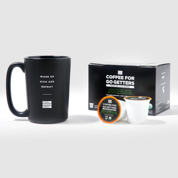 Wake Up Kick Ass Repeat - Matte Black Motivational Coffee Mug