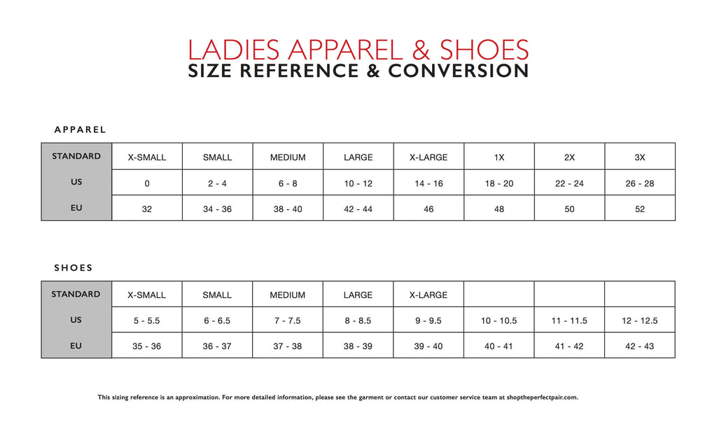 The Perfect Pair Boutique Size Chart