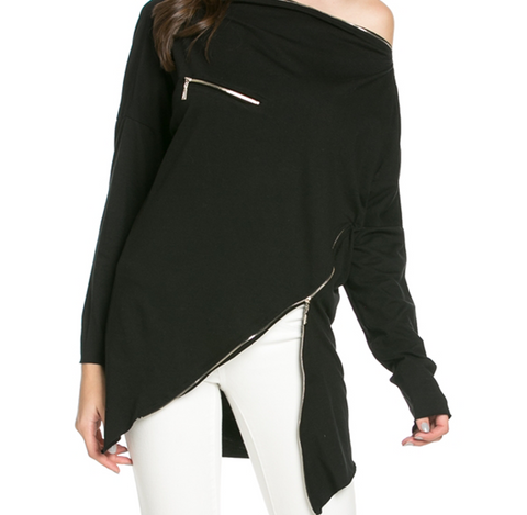 Zipper Accent Asymmetrical Top