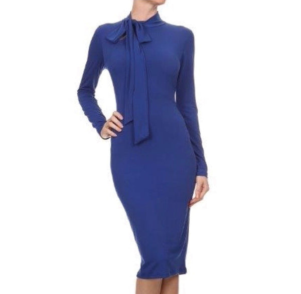 Tie Neck Sheath Dress - The Perfect Pair Boutique