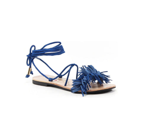 Fringe Benefits Ankle Wrap Tie Flat - The Perfect Pair Boutique