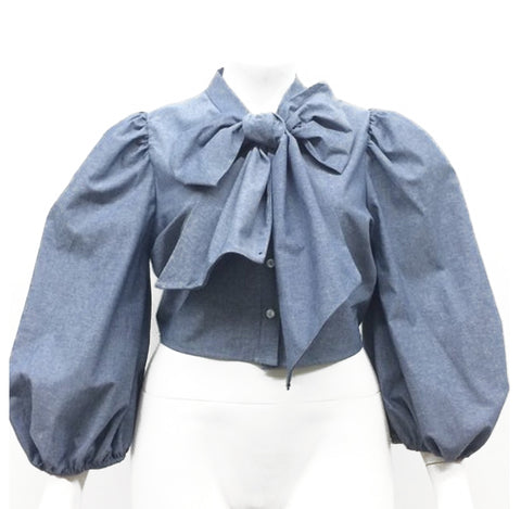 Denim Neck Tie Top - The Perfect Pair Boutique
