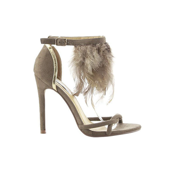 Feather Embellished Strappy Sandal - The Perfect Pair Boutique
