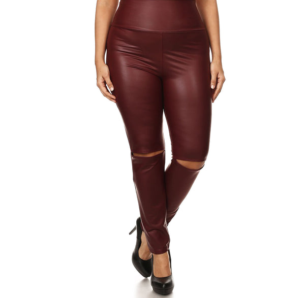 Plus Size Studio Slit Knee Leather Leggings