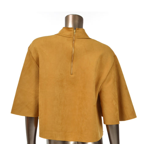 Spicy Mustard Suede Crop Top