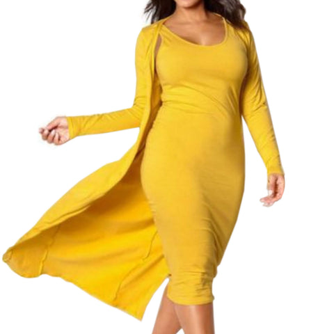 Curvy Cardigan Midi Dress Set