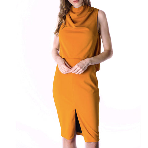 Tangerine Mock Neck Dress