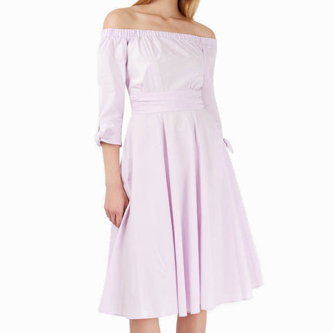Pink Tie Off Shoulder Dress