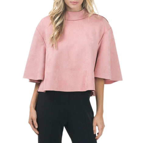 Pretty In Pink Suede Oversized Top