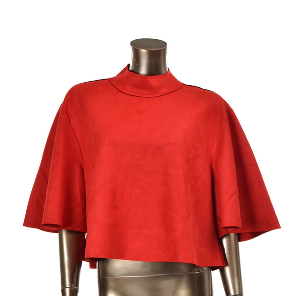 Color Me Red Suede Crop Top