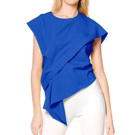 Asymmetrical Pleat Back Zipper Top - The Perfect Pair Boutique