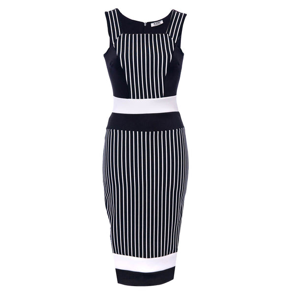 Black Stripe Contrast Belt Pencil Dress