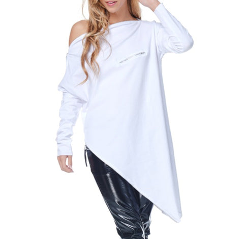 Long Asymmetrical Zipper Top