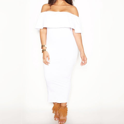 Curvy Ivory Off the Shoulder Dress