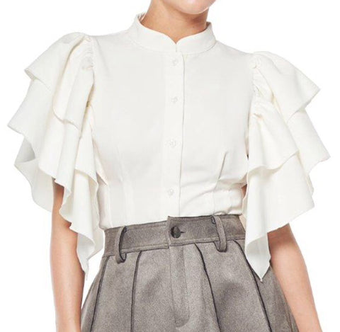Mandarin Collar Ruffle Sleeve Top - The Perfect Pair Boutique