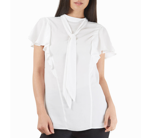 Frill Detail with Neck Tie Blouse