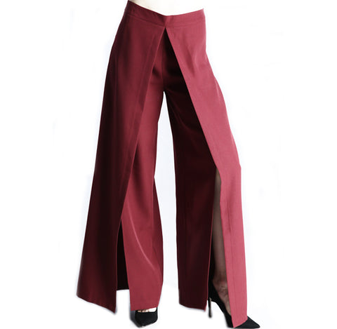 La Flair Split Front Red Trouser