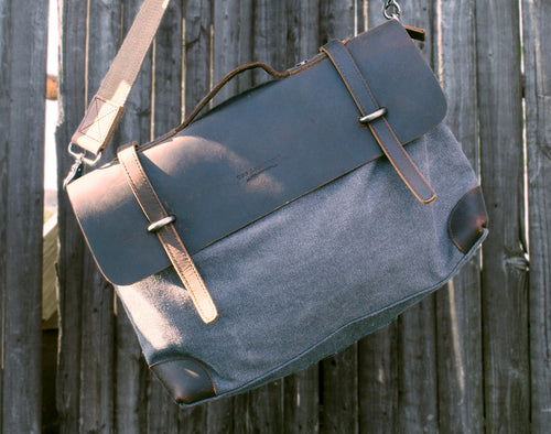 Chenin Leather and Canvas Satchel