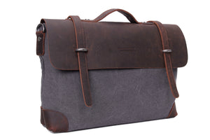 Chenin Leather and Canvas Satchel -  The Leatherie