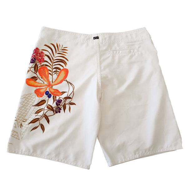 ROXY Women's White Floral Gold Foil Board Shorts