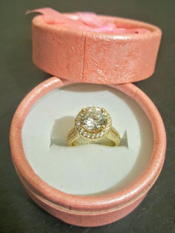 Round Cut  Yellow Gold Plated Ring - 1000 Things Australia