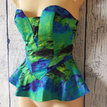 Women Blue Green Fashion Tropical Print Strapless Peplum Cocktail Party Top New-Clothing, Shoes & Accessories Womens Clothing Tops & Blouses-1000 Things Australia