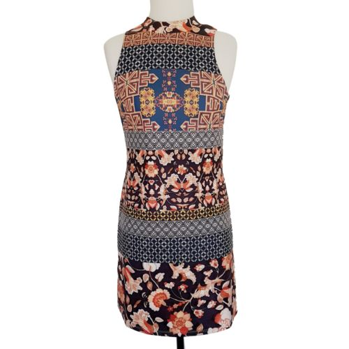 DOTTI Multi-Coloured Floral High Neck Sleeveless A-Line Women's Fitted Dress - 1000 Things Australia