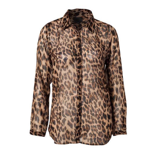 Anself Womens Leopard Animal Print Semi-Sheer Sleeve Blouse Elegant Slim Top New-Clothing, Shoes & Accessories Womens Clothing Tops & Blouses-1000 Things Australia