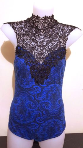 ICE Blue & Black Lace Paisley Sleeveless Women's One Piece Top - 1000 Things Australia