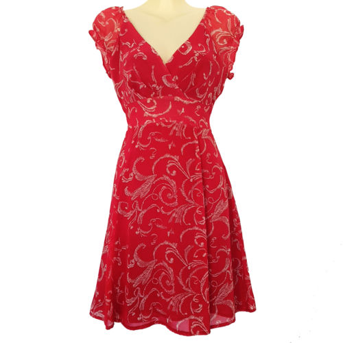 PILGRIM Red White Floral V-Neck Empire Fashion Summer Casual Sexy Dress Slim Fit-Clothing, Shoes & Accessories Womens Clothing Dresses-1000 Things Australia