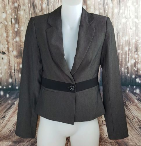 DIANA FERRARI Dark Grey Black Detail Button Women's Blazer - 1000 Things Australia