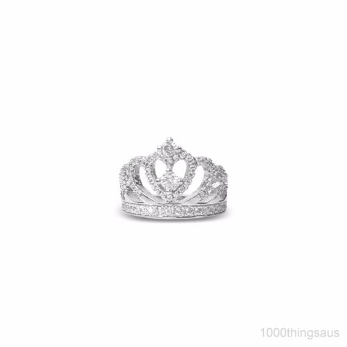 Queen's Crown S925 Simulated Sterling Silver Wedding Engagement Ring - 1000 Things Australia
