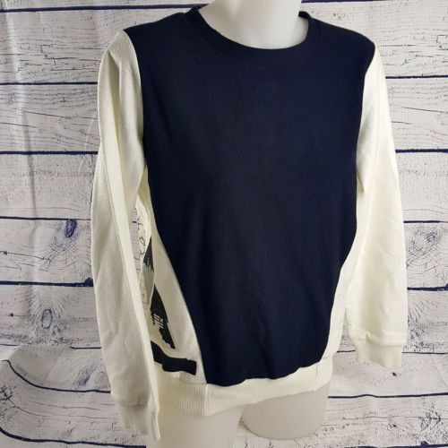 COUNTRY ROAD Navy Blue & White Print Long Sleeve Women's Jumper - 1000 Things Australia