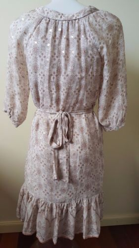 FOREVER NEW Silk Mesh Beige Pink Gold Floral Short Sleeve Dress - 1000 Things Australia