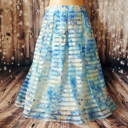 FOREVER NEW Women's Light Blue White Fashion Printed Floral Pleated Long Skirt - 1000 Things Australia