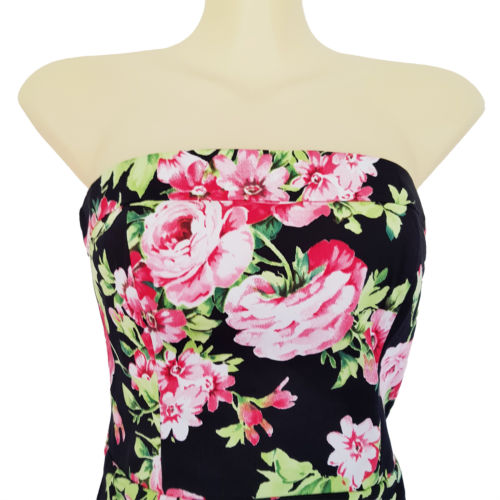 PORTMANS Womens Black Pink Floral Sleeveless Strapless Pencil Fitted Dress 6 XS-Clothing, Shoes & Accessories Womens Clothing Dresses-1000 Things Australia