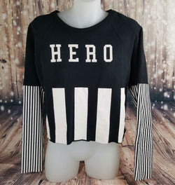 ZARA Women's Elegant Cotton Long Sleeve Black & White HERO Stripe Print Jumper-Clothing, Shoes & Accessories Womens Clothing Sweaters-1000 Things Australia