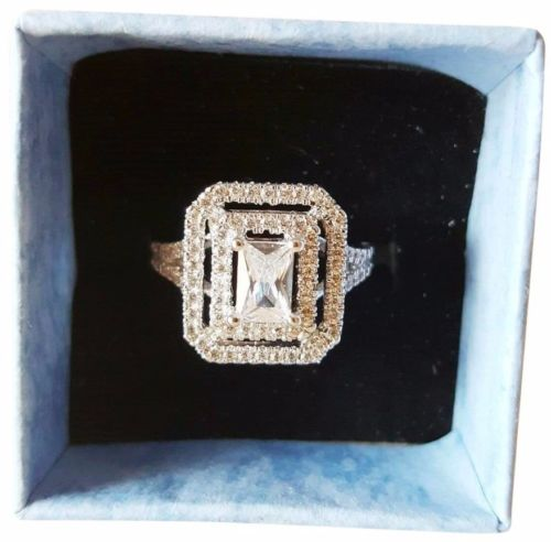 Women's Double Halo Emerald Cut Wedding Ring White Gold Filled Fashion Jewellery - 1000 Things Australia