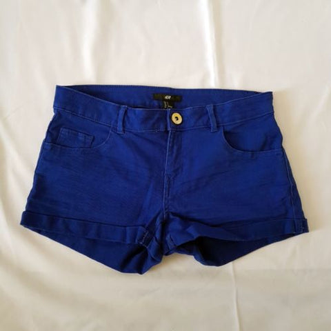 H&M Women's Vivid Blue Denim Ripped Cotton 5-Pockets Shorts Casual Summer Wear-Clothing, Shoes & Accessories Womens Clothing Shorts-1000 Things Australia