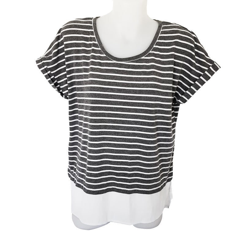 PORTMANS Grey White Striped Blouse Top - 1000 Things Australia