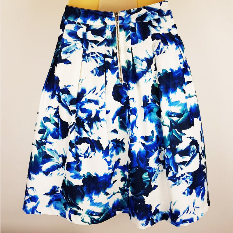 DOTTI White & Blue Floral A-Line Skirt - 1000 Things Australia