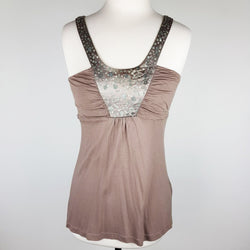 WITCHERY Brown Sequinned Tank Top - 1000 Things Australia