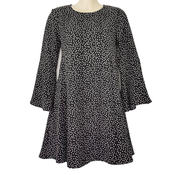 FOREVER NEW Georgia Bell Sleeve Swing Dress Black White Polka Dot Loose A-Line